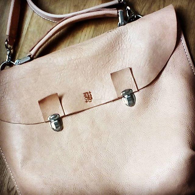 Soft milk leather briefcase by burtsevbags