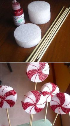 Peppermint Lollipop - 36 Creative DIY Christmas Decorations You Can Make In Under An Hour