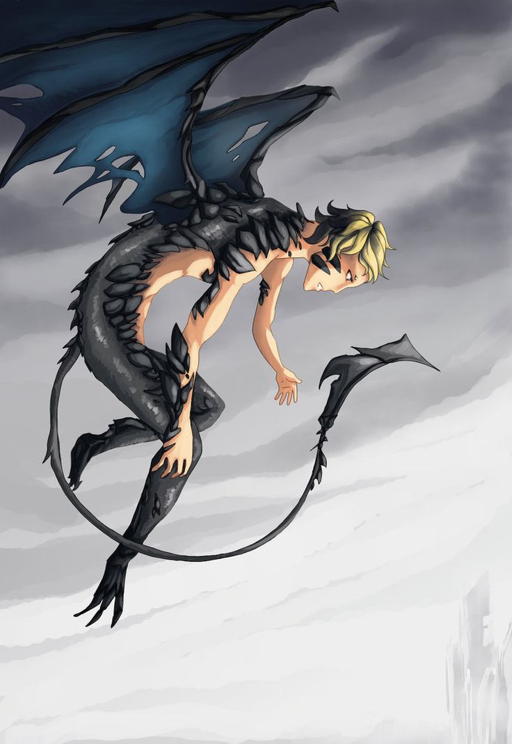 Half human half dragon fantasies hybrids pinterest - Anime boy dragon ...