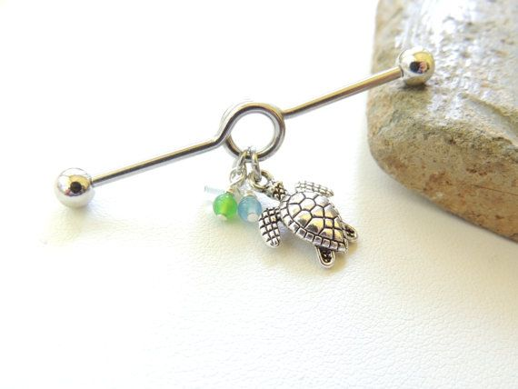Turtle Industrial Barbell with Colorful Agate Beads by SeductiveBodyWorks, $12.00