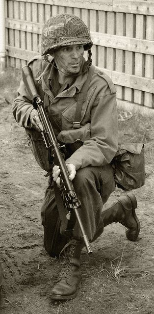 U.S Soldier . Carrying a German assault rifle, first of is kind