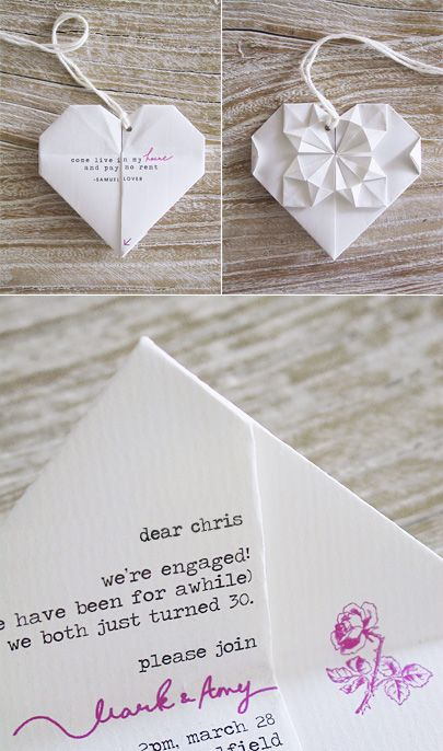 DIY origami heart engagement party invitations
