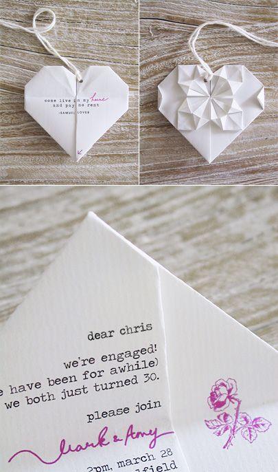 Pra completar seu kit básico de papelaria de casamento, um convite de casamento DIY lindo de origami! Você usaria?