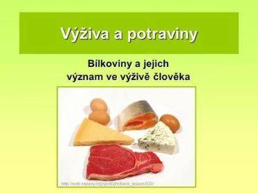Výživa a potraviny Bílkoviny a jejich význam ve výživě člověka