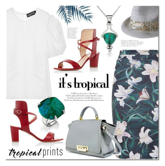 Tropical Prints by mada-malureanu on Polyvore featuring Anna October, Paul Andrew, ZAC Zac Posen, Eugenia Kim, Silver, jewelry, emerald, tropicalprints and revekarose