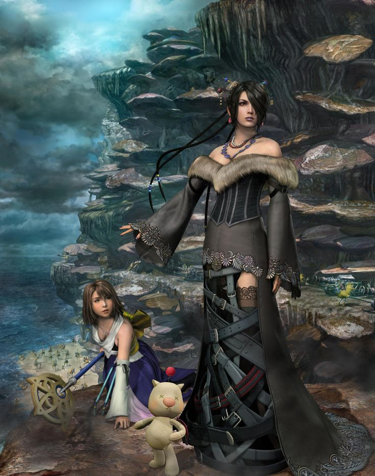 Final Fantasy X - Lulu - One of my favorite characters in the game, and the party's black mage. The picture looks like it takes place during Operation Mi'hen, with the Crusaiders and Chocobo Knights in the background behind Yuna. I still wonder how Lulu's skirt works. Then again, she has that magical moogle doll as a weapon...