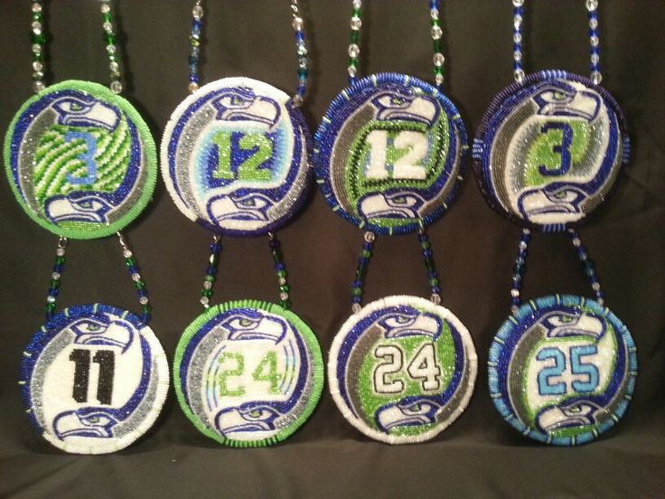 "Beadwork- Seahawks pendants - hawks fans Want to ""12"" one!!"