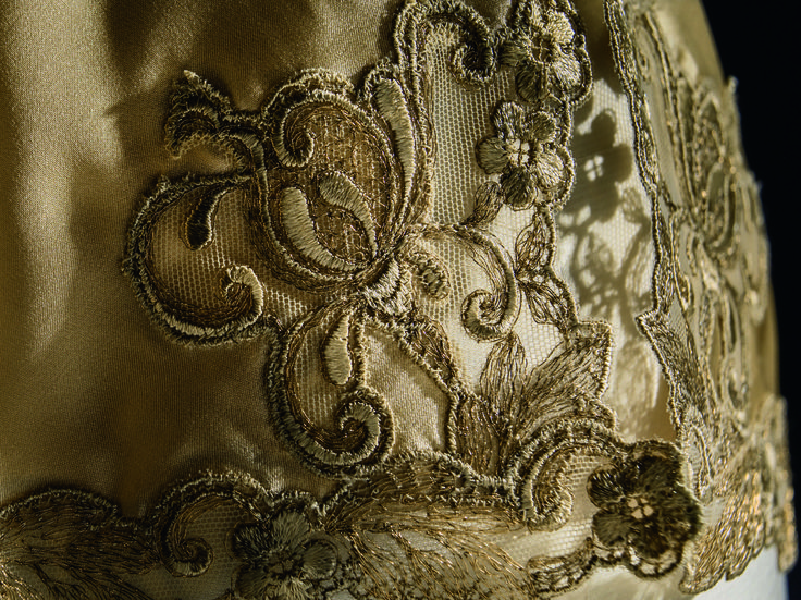 Close up of the La Perla Maison Gold Edition Slip, one of the three collections available with the exclusive Made to Measure service.