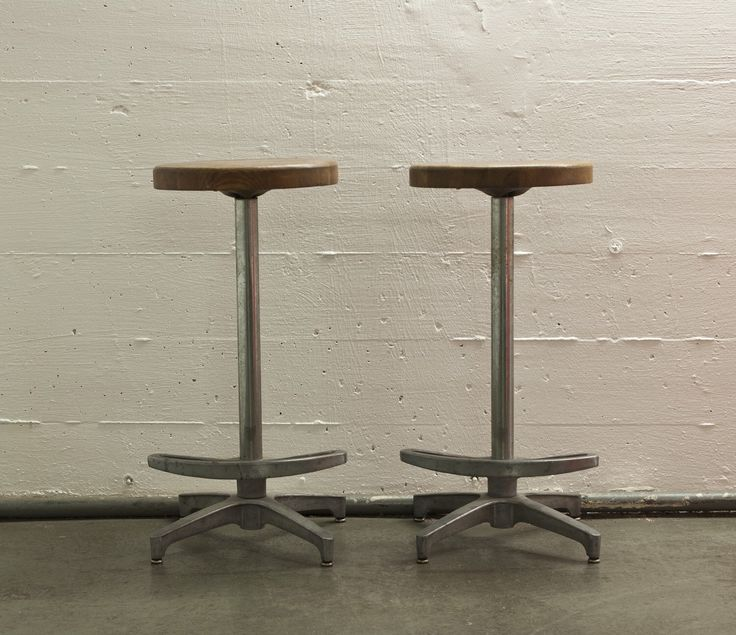 Aluminum Bar Stools with Salvaged wood seats by PatinaNYC on Etsy https://www.etsy.com/listing/220309706/aluminum-bar-stools-with-salvaged-wood