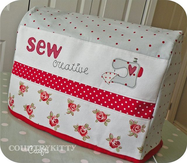 sewing machine cover - red, white, light blue