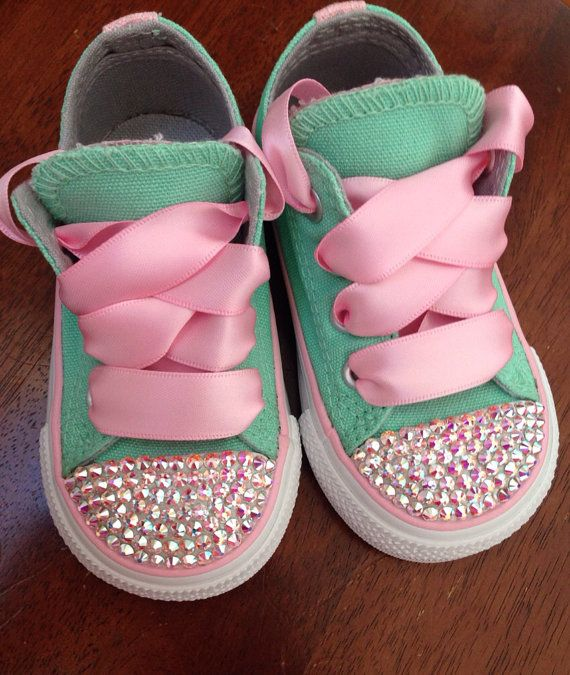c42be53559a1 Tiffany blue and Pink Bling Converse by Munchkenzz on Etsy