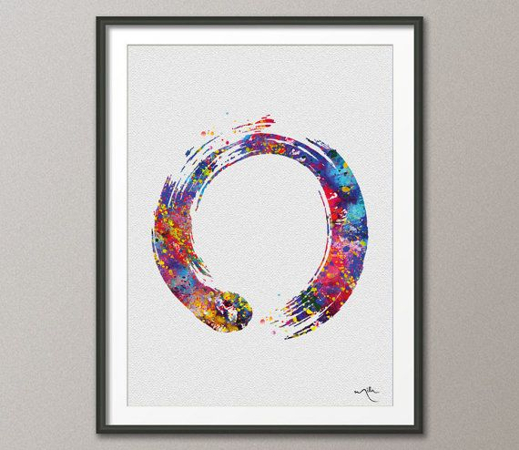 Zen Circle Enso Symbol Buddhism Meditation Yoga Watercolor Art Print Wall Art…