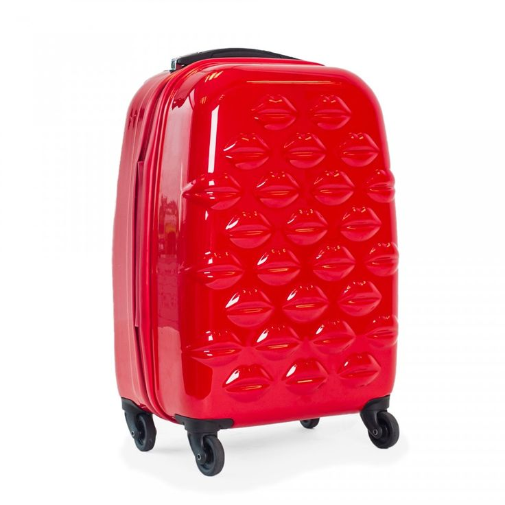 Red Hard Sided Lips Small Spinner Case | Hard Sided Luggage | Luggage | Lulu Guinness | Lulu Guinness