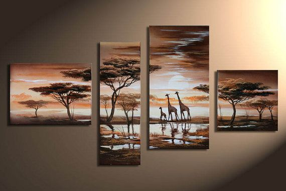 Hand-painted, Tropical  Africa, Indoor decorative painting, giraffes.  087 on Etsy, $108.00
