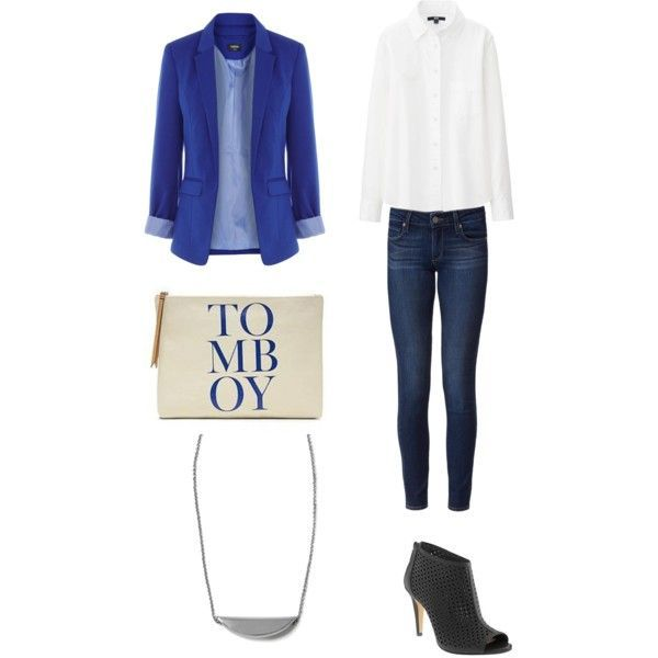 """UNIQLO shirt, $20, Oasis jacket, $60, Paige """"Skyline"""" jeans, $315, Banana Republic clutch, $38, booties, $168 and necklace, $45."""