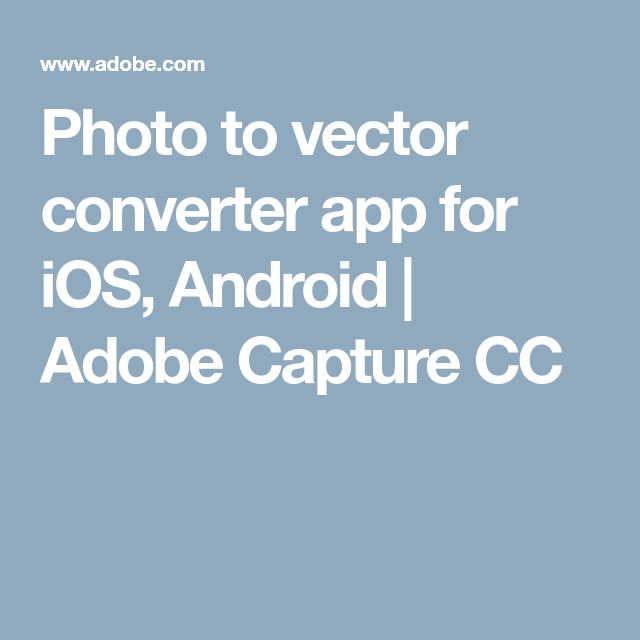 Photo to vector converter app for iOS, Android | Adobe Capture CC