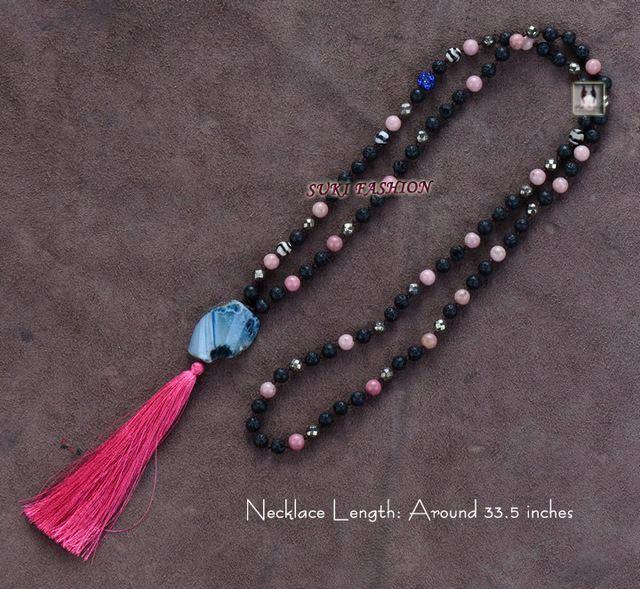 Exclusive mixte lave pierres avec Rhodalite Pyrite Agate pendentif Long gland perles collier de perles à la main femmes collier