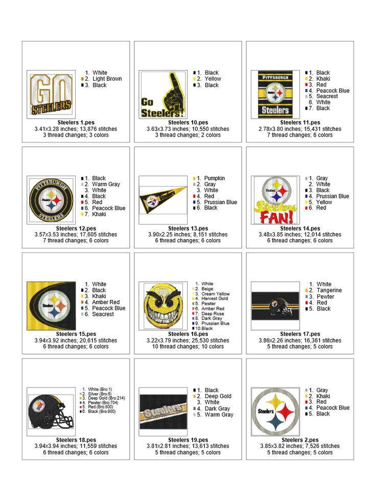 Pittsburgh Steelers American football team EMBROIDERY DESIGNS INSTANT DOWNLOAD BEST COLLECTION