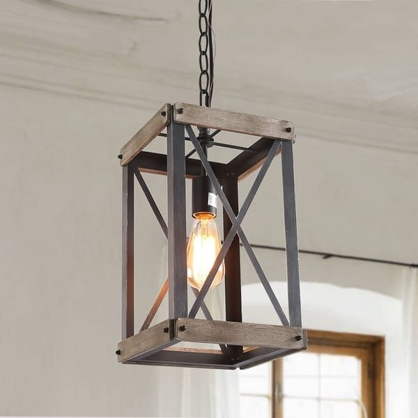 Lnc 1 Light Foyer Pendant Lights Rustic Hanging Lantern Chandeliers L9 1 X W 9 1 X H16 1 In 2020 With Images Wooden Pendant Lighting Rustic Pendant Lighting Farmhouse Pendant Lighting