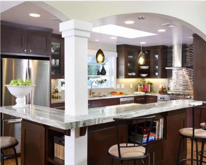 good layout for a small galley kitchen thats been opened up good way to work in the support beam open up a galley kitchen pinterest cabinets - Galley Kitchen With Island Layout