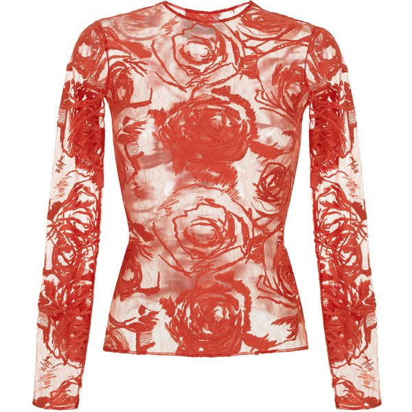 Lace Long sleeve Top | Moda Operandi ($670) ❤ liked on Polyvore featuring tops, red top, floral print tops, red long sleeve top, floral lace top and flower print tops