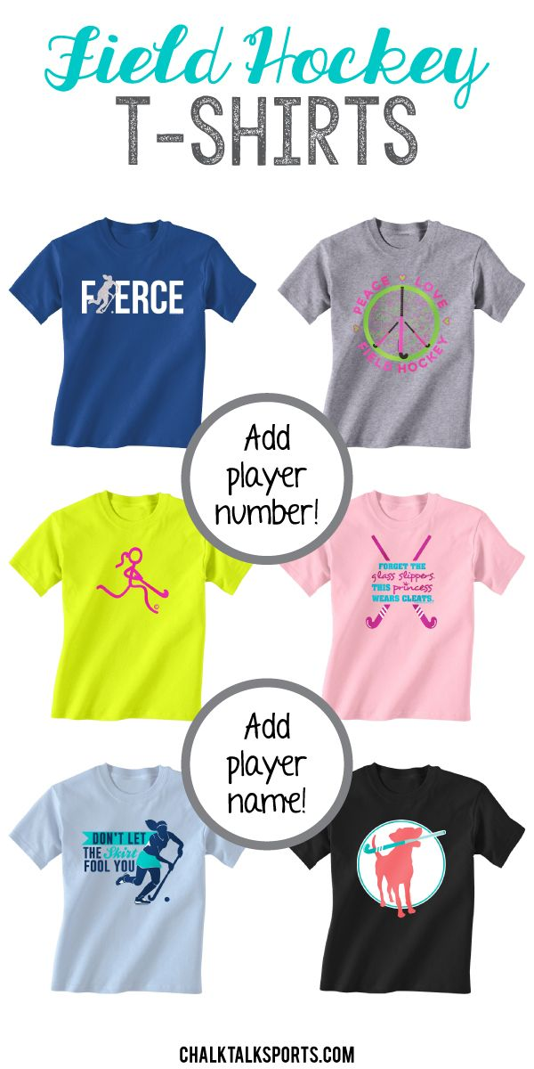 Our short sleeve tees are perfect for practice or everyday wear! Field hockey girls will love to wear our t-shirts to show off their love for the game! Personalize any of our short sleeve tees with player name and/or player number on the back to create an extra special field hockey gift. Only from ChalkTalkSPORTS.com!
