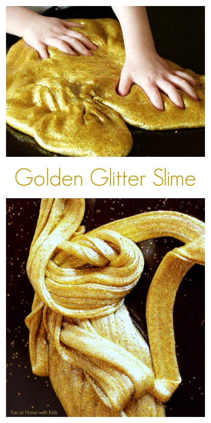 homemade golden glitter slime recipe without borax // diy projects to do with kids #diyprojects #activitiesforkids