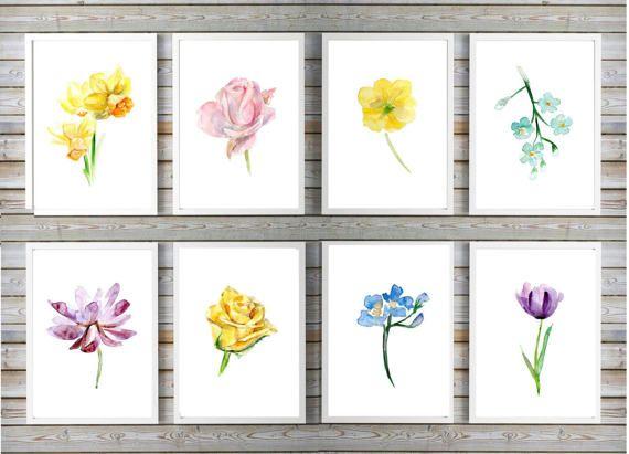 Kluerrijke bloemen aquarel set  8 prints  roos lotus door Zendrawing