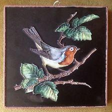 Karlsruher Majolika Keramik Wandplatte Vogel Rotkehlchen ceramic wall plate 70er