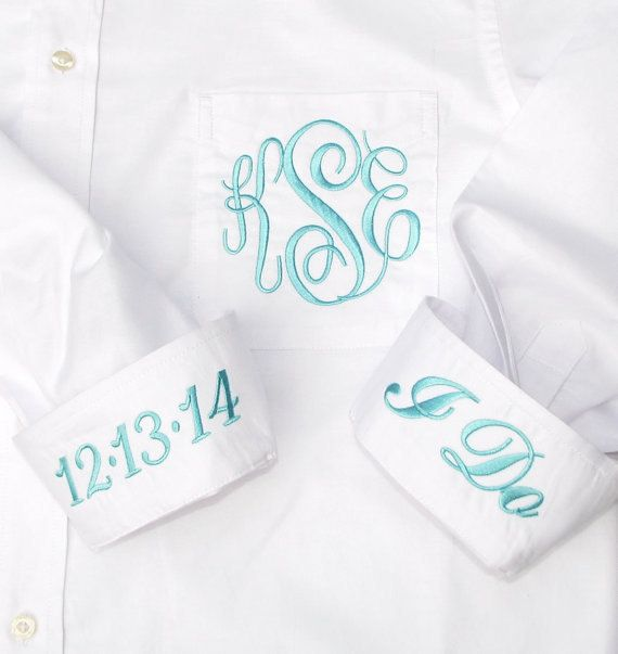 A monogrammed button down shirt the bride can get ready in