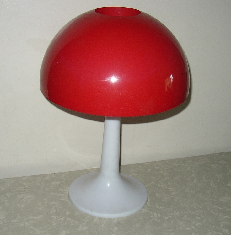 Vintage plastic mushroom lamp. I had this lamp in pink & white swirl.