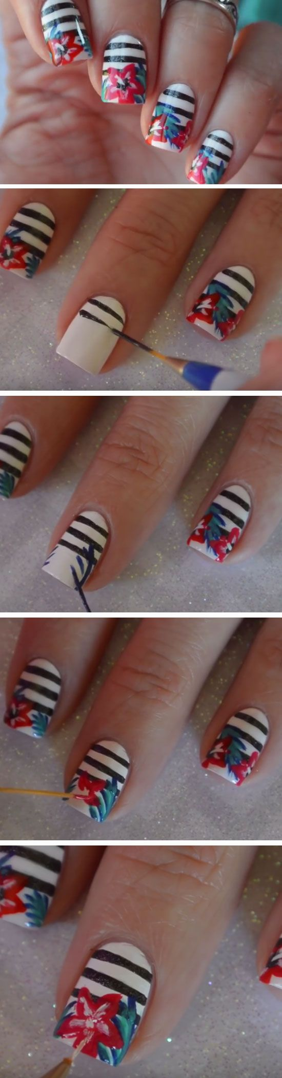 Tropical Stripes | 18 Funky Summer Nail Art Ideas for Short Nails that scream summer!
