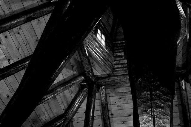 The istructural beams inside this traditional serbian house make for an interesting view. Heavy and wooden, they were built to withstand the test of time.