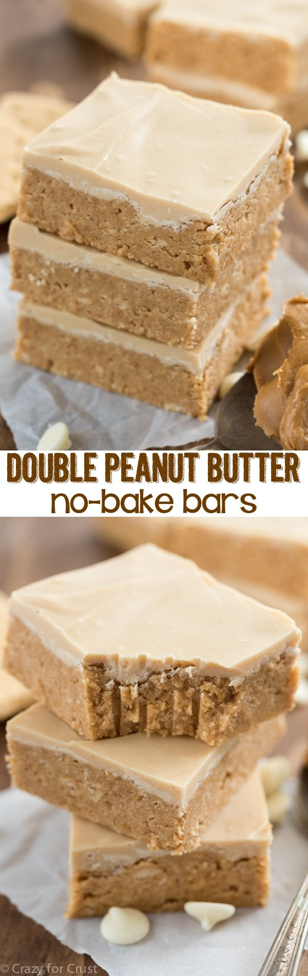 Like the inside of a peanut butter cup, these EASY Double Peanut Butter Bars are no-bake and come together in minutes. Topped with peanut butter white chocolate these bars are a super peanut buttery recipe!