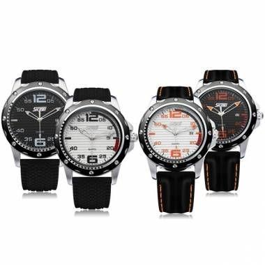 SKMEI 0992 Date Calendar Round Black Rubber Men Wrist Quartz Watch - US$10.99