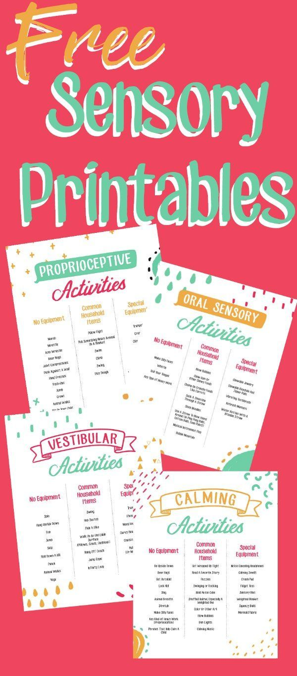 FREE #printables of #sensoryactivities and #sensoryplay for kids with #sensoryprocessingdisorder  #Autism and #adhd #Autistic