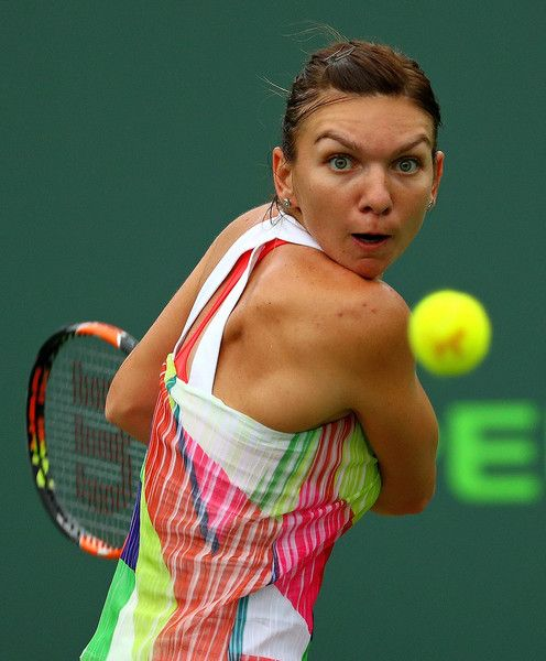 Simona Halep Photos Photos - Simona Halep of Romania plays a match against Timea Bacsinszky of Switzerland during Day 9 of the Miami Open presented by Itau at Crandon Park Tennis Center on March 29, 2016 in Key Biscayne, Florida. - Miami Open - Day 9
