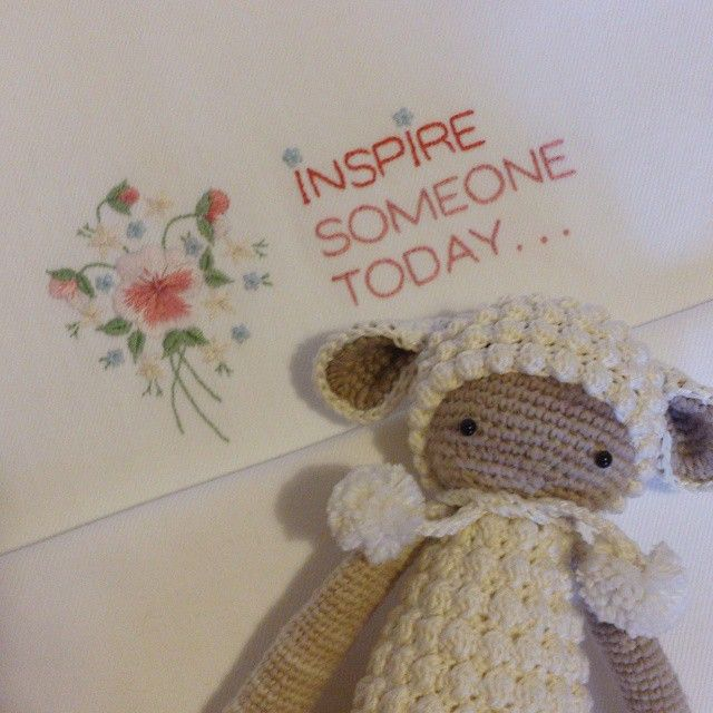 inspire someone today... ) #handembroidery #motivator #handmade #crochet #toys #baby #sheep #embroidery #knitting #toys #flowers #amigurumi #songbird #cotton #songbirdstudio #lalylala #handcraft