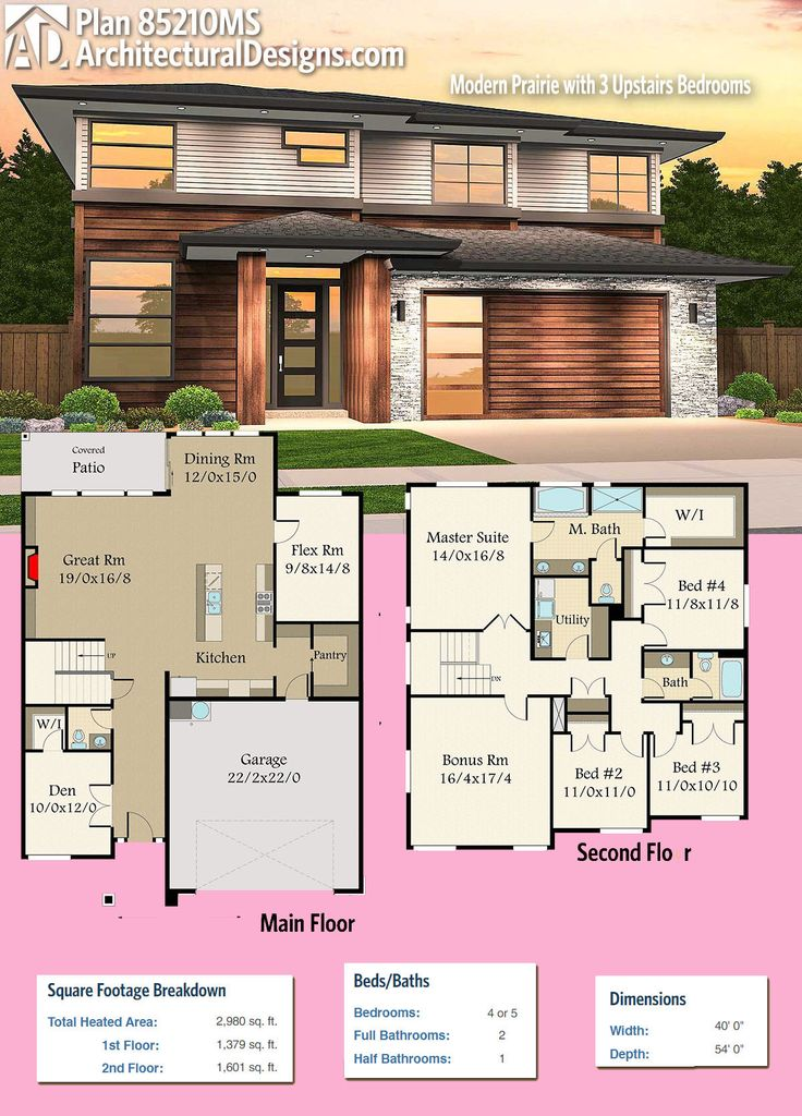 Architectural Designs Modern House Plan 85210MS Gives You 4+ Beds And Over  2,900 Square Feet