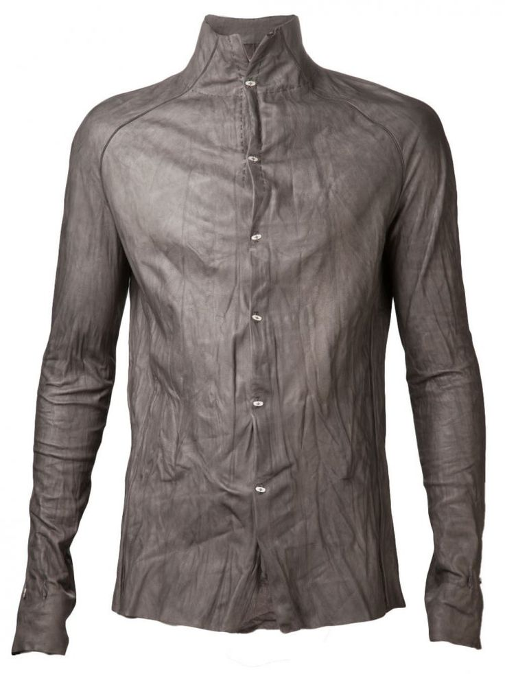 M.A+ - Leather Shirt with Silver Buttons - H132 SY 0.5 PENICILLIN-CARBON - H. Lorenzo