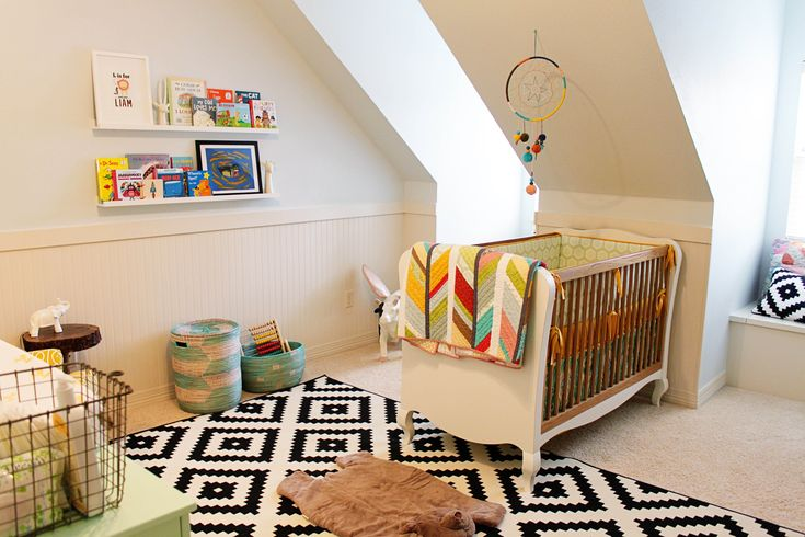 Eclectic nursery, unisex nursery, fun and bright nursery, nursery design, DIY nursery, inexpensive nursery design, www.twineinteriors.com.  liking the basket and quilt