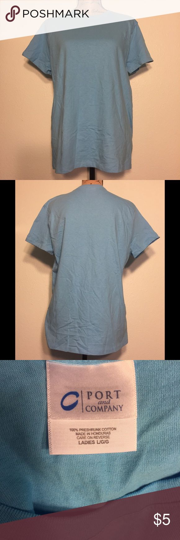 👚NWOT - Ladies Blank Crew Neck S/S Tee 👚Ladies Blank Crew Neck S/S Tee 100% Cotton. Color sky blue.  Leftover blank. No tags, but brand new. Perfect Condition.                                             Blank and promotional tee bundle deal.  Buy 2 For $7 Buy 3 For $9 Buy 4 For $11 Buy 5 For $13 Buy 6 For $15 Look for any listing with either of these symbols 👚👕. Bundle them and make me an offer for the prices above.  They make great work tees, craft projects, or just a great basic for…