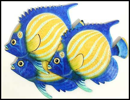 """Blue & Yellow Ringed Angelfish - Painted Metal Tropical Fish Wall Hanging - 12"""" x 16""""Tropical Décor – Caribbean Décor - Coastal Décor – Tropical Decorating – Tropical Style –Interior Design - Beach Cottage Decor - Home Décor – Hand Painted Decor – Haitian Steel Drum Designs ++++ See more decorative handcrafted items at www.HaitiGallery.com"""