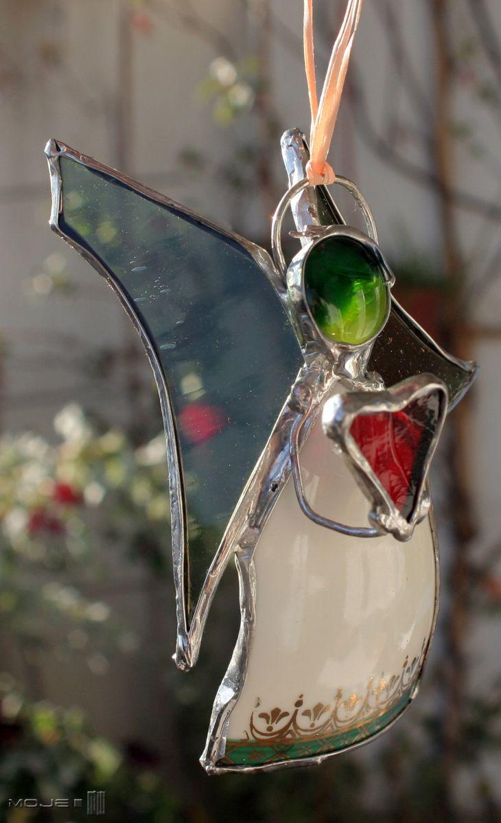 Anioł filiżankowy z sercem / Angel made from a cup with heart. witraż Tiffany / Tiffany Stained Glass. Glass Angel. Moje MW