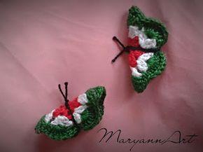"""Maryanna kézműves alkotások: Horgolt pillangó """"kokárda"""""""