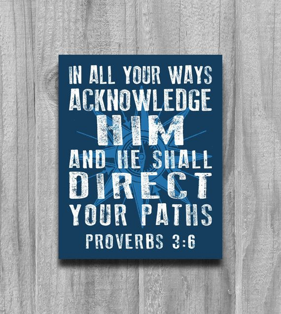 Proverbs 3 6 Compass Wall Art Print Poster Modern Word Art Scripture Rustic Nautical Bible Verse Blue