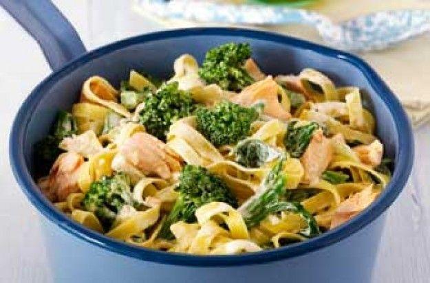 Broccoli and salmon tagliatelle recipe