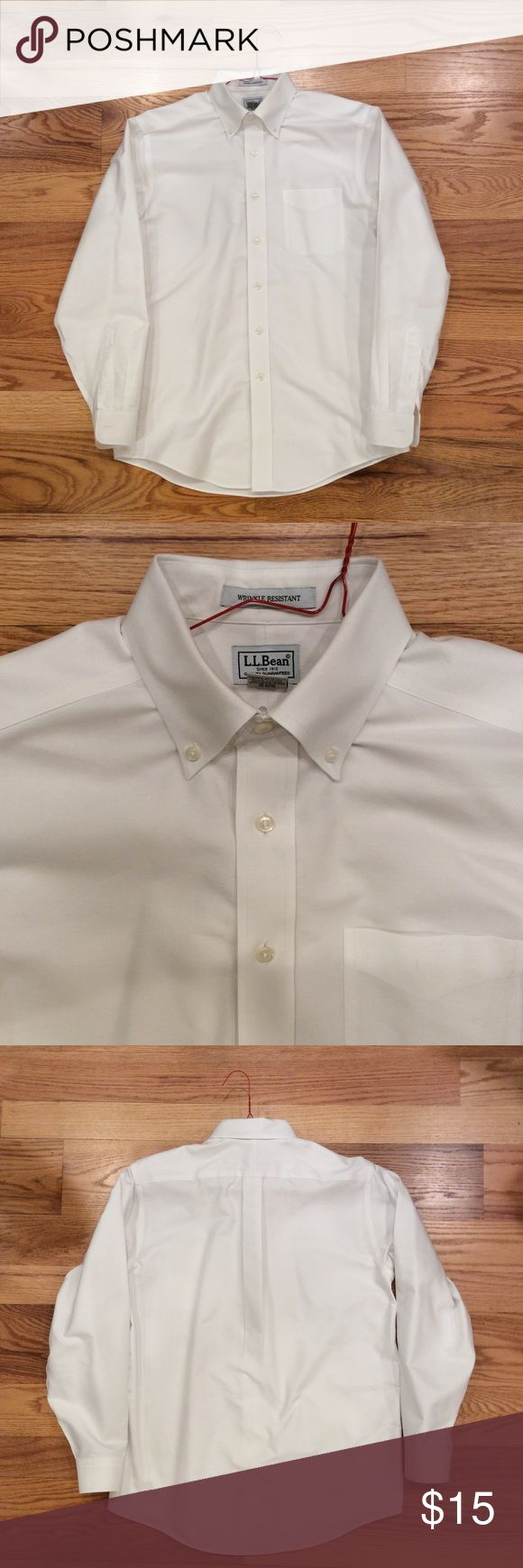 Men's LL Bean White Oxford Shirt LL Bean 100% cotton button down Oxford dress shirt. Wrinkle resistant substantial weight cotton. Excellent condition. Size 15 neck, 34 sleeve length. Comment with any questions or make an offer. LL Bean Shirts Dress Shirts