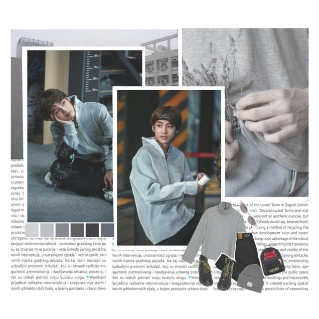 """""""«Taehyung x puma, date»"""" by parkeunseo on Polyvore featuring Maison Scotch, Dr. Martens, Kenzo, Acne Studios, Illesteva, grey, bts and taehyung"""