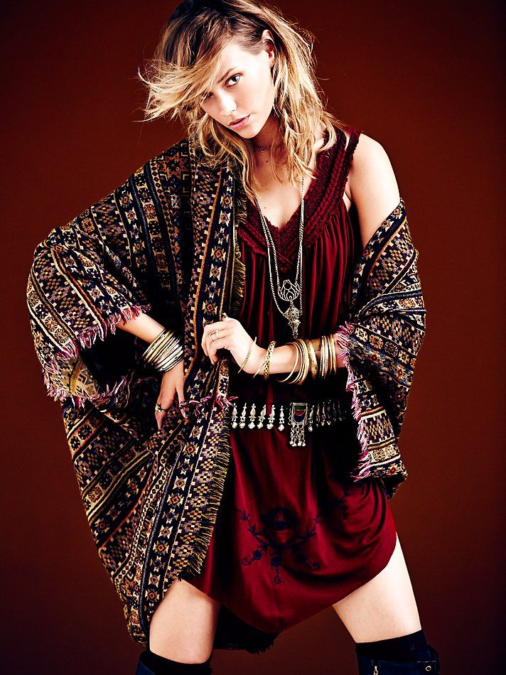 Free People Ikat Hooded Poncho at Free People Clothing Boutique